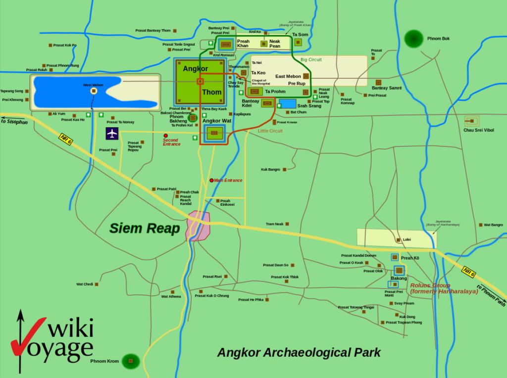Die Detailkarte von Angkow Wat.