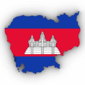 Grundriss von Kambodscha mit der Fahne des Landes und Angkorwat (shutterstock/fredex)