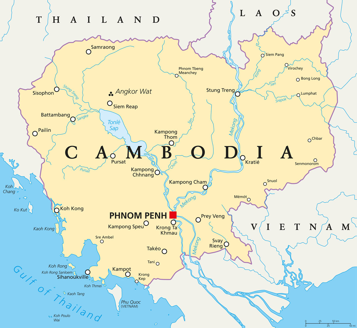 Die politische Landkarte von Kambodscha mit der Hauptstadt Phom Penh und angkor Wat im Norden (shutterstock.com/Peter Hermes Furian)