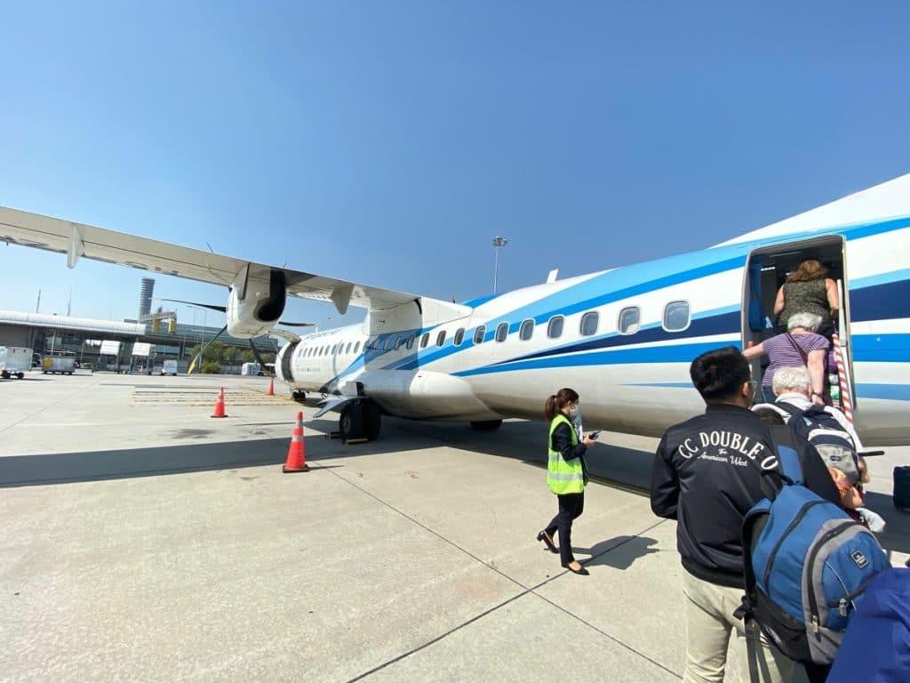 Anreise nach Siem Reap mit dem Flugzeug, hier von Bangkok aus.