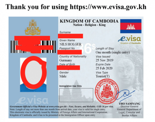 Das Approvalschreiben des e-visa (Daten sind unkenntlich gemacht von meiner Einreise)