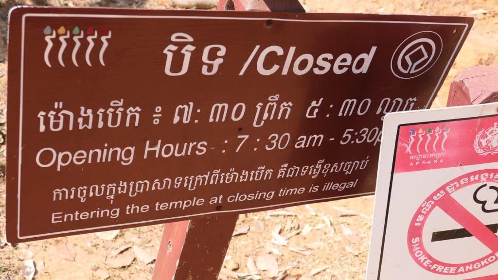 Die Öffnungszeiten der Tempel in Angkor Wat sind unterschiedlich.